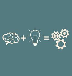Business mechanism concept brain plus idea gears vector