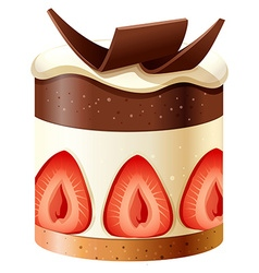 Cake with chocolate and strawberry vector image