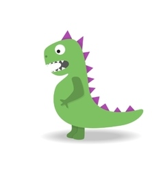 Cartoon cute dinosaur monster on white background vector
