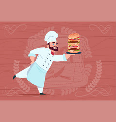 Chef cook hold big burger smiling cartoon vector