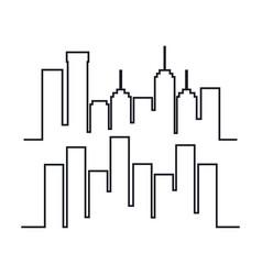 cityscape buildings set silhouette icon vector image vector image