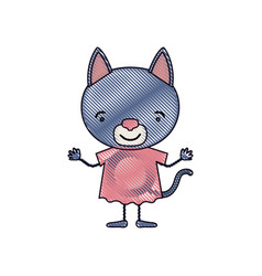 Color crayon silhouette caricature of cute cat in vector