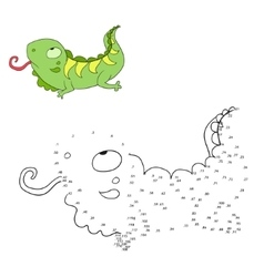 Connect the dots game iguana vector image vector image