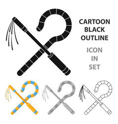 crook and flail icon in cartoon style isolated on vector image