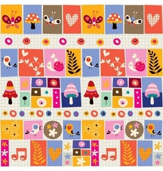 cute flowers birds mushrooms snails collage vector image vector image