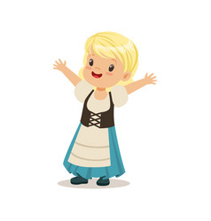 Cute girl wearing blue skirt and corset national vector