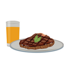 Delicious steak beef orange juice food vector