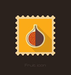 Fig flat stamp tropical fruit vector