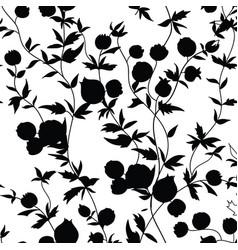 floral seamless pattern flower silhouette garden vector image