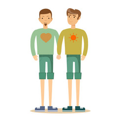 Gay couple with hand in hand vector