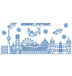 germany stuttgart winter city skyline merry vector image vector image