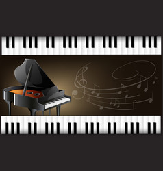 Grand piano with keyboards and musicnotes vector