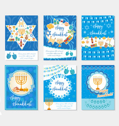 happy hanukkah set of greeting cards flyer vector image