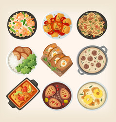 Homemade dinner dishes vector