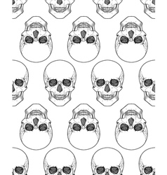 Human skull tribal style seamless pattern hand vector