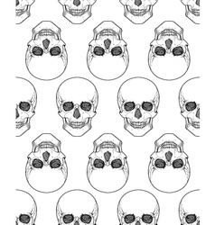 Human skull tribal style seamless pattern hand vector