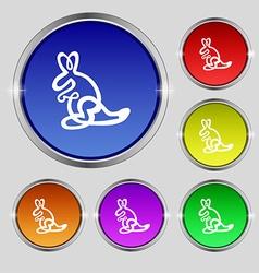 Kangaroo icon sign round symbol on bright vector