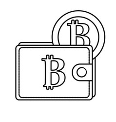 Line bitcoin symbon in the wallet with coin money vector