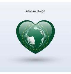 Love african union symbol heart flag icon vector