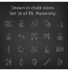 Maternity icon set drawn in chalk vector