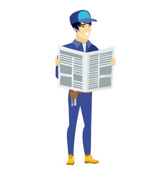 Mechanic reading newspaper vector