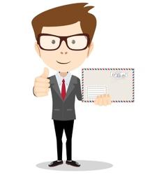 Office worker holding huge mailer envelope giving vector