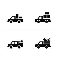 Pickup truck and transport icons vector