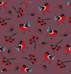 seamless winter pattern with bright bird vector image vector image