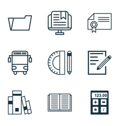 Set of 9 school icons includes paper library vector