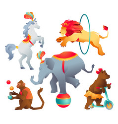 Set of circus trained wild animals performance vector