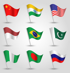 Set of nine flags states with biggest population vector