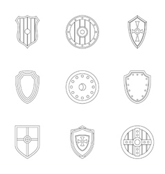 Shield icons set outline style vector