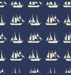 simple sailboat or ships seamless pattern design vector image