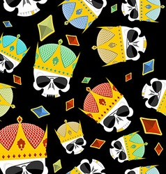 Street Kings Gold Crown skull seamless pattern vector image vector image