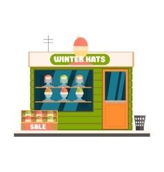 Winter hats store front vector