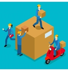 Delivery Men Isometric Composition vector image