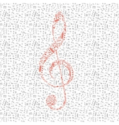 Red treble clef sign made up from music notes vector image