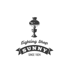 Table lamp label sunny ribbon lighting shop badge vector