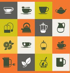 Multicolor tea icons set vector