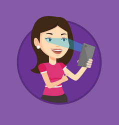 Woman using iris scanner to unlock mobile phone vector