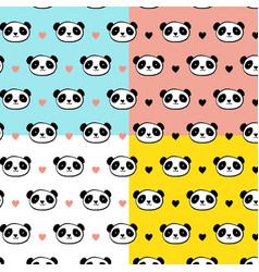 cute panda bear seamless patterns vector image