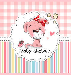 Baby shower greeting card with puppy vector
