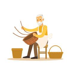 Senior man weaving baskets craft hobby or vector