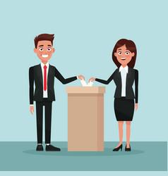 Background scene couple in formal suit vote in urn vector