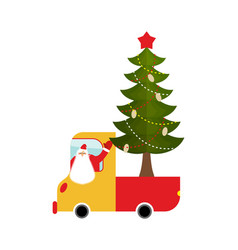 Santa claus in truck with tree holiday car new vector