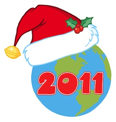 Earth with santa hat cartoon vector
