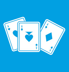 Playing cards icon white vector