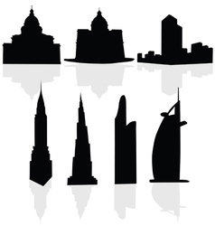 Buildings art black silhouette vector