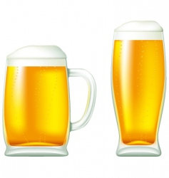 Beer in glass and mug vector