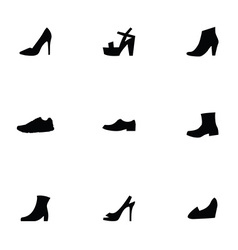 Shoes 9 icons set vector